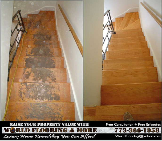 Awesome ... Refinishing Wood Stairs In Oak Park IL By World Flooring And More  773 366